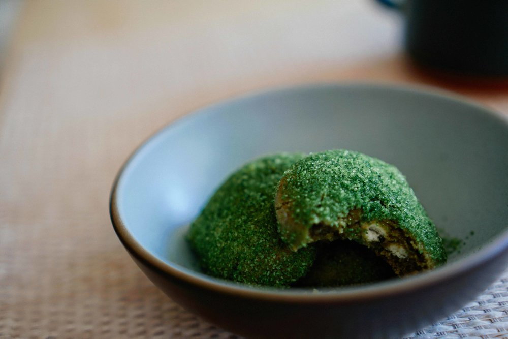 Matcha cookies with white chocolate