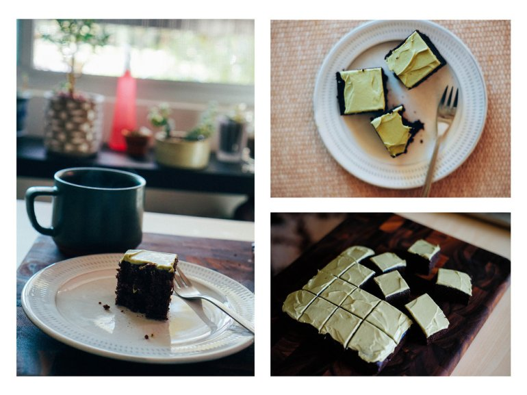 matcha chocolate cake and tea time!