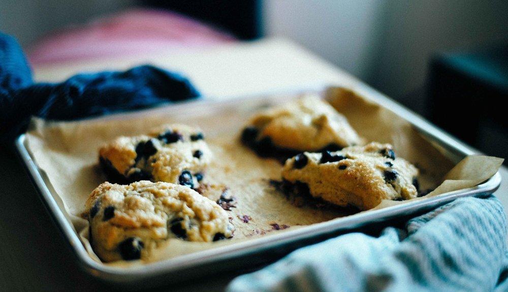 Vegan dairy-free coconut oil blueberry scones