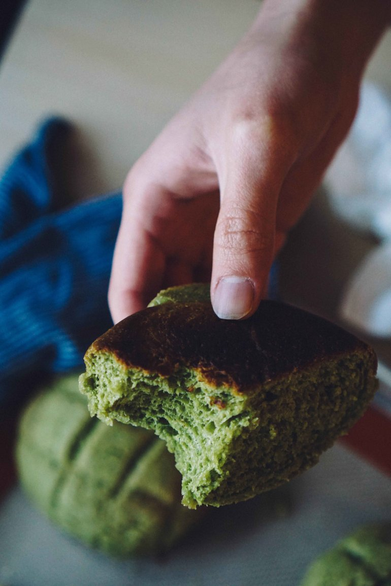 Japanese matcha pastry with crunchy cookie top